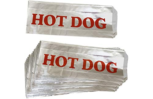 (Printed Foil Hot Dog Bags - 50 Pack - Silver Red by Outside the Box Papers)
