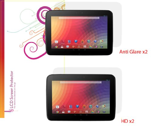 rooCASE Screen Protector Film for Google Nexus 10 Tablet (4-Pack x2 Anti-Glare Matte and x2 HD Invisible)