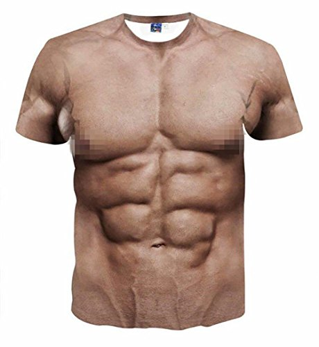 Eagle Men Funny Muscle Tee Shirt Undershirt 3D Print Short Sleeve T-Shirts Muscle Six Pack Abs T-Shirt for Man - Eagle T-shirt Asian