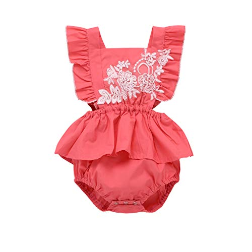 (Newborn Ruffle Romper, Baby Girls Embroidered Floral Print Romper Bodysuits Outfits)