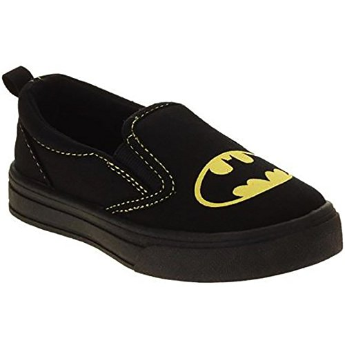 Price comparison product image Batman Glow In the Dark Canvas Slip-on Sneaker For Toddlers, Boys and Girls (Toddler 7)
