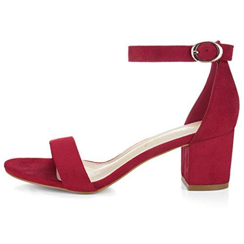 Allegra K Damen offene Zehen mittlere Blockabsatz Knöchel-Riemen Sandalen Deep Red-Faux Suede