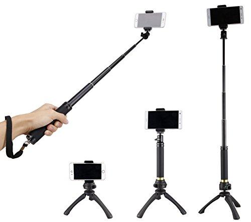 Fotopro Selfie Stick mit Handy Stativ, Handy Adapter, Bluetooth Fernauslöser für Kamera, Gopro, iPhone, Samsung und andere Smartphones
