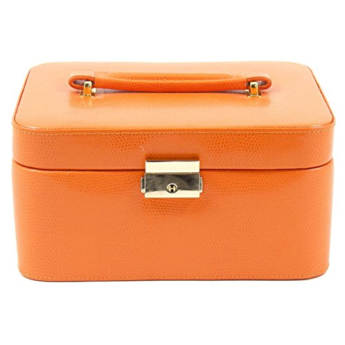 French Harbour Bey Berk 'Liana' Leather Jewelry Box (Orange) (Leather Harbour)