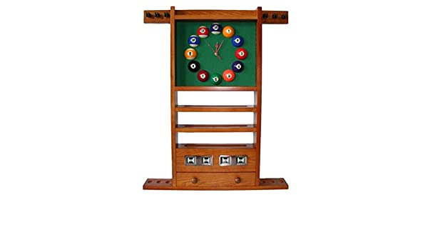 Portatacos billar reloj y contador tintado de roble dorado de madera – 97 x 73 cm – Madera: Amazon.es: Deportes y aire libre