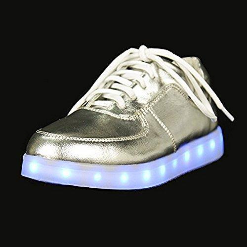 Shihua (tm) Argento Led Luminoso Sneaker Usb Light Up Incandescente Casual Scarpe Casual Us 6 (23,5 Cm)