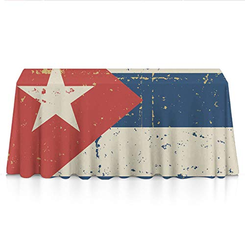 GLORY ART Premium - Retro Cuban Flag - Water Resistance Rectangle Tablecloth, Wedding/Birthday/Party/Event/Banquet/Restaurant Decor - 60x90 inches Durable Polyester Table Cloth ()