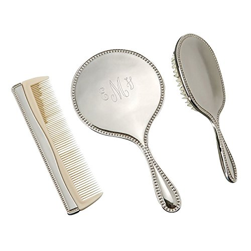 Personalized 3 Piece Dresser Set with Mirror, Brush and Comb - Silver Mirror And Brush Set