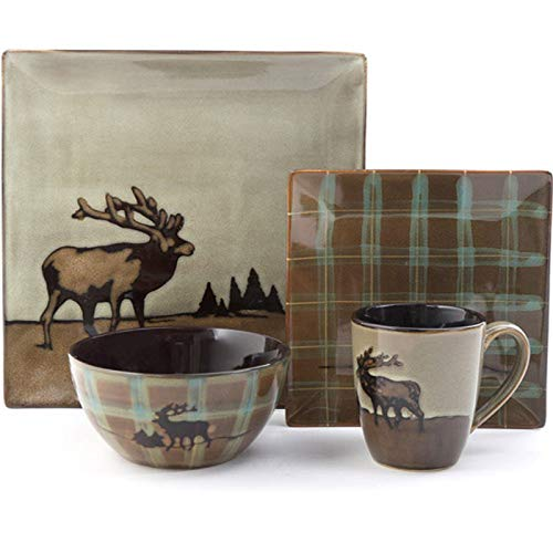 16 Piece Roaming Elk Stoneware Dinnerware Set w/