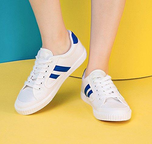 Aisun Damen Bequem Canvas Low Top Schnürsenkel Freizeitschuh Sneakers Weiß-2