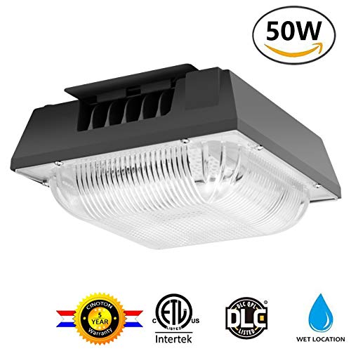 (Cinoton 50W LED Canopy Light, (250-400W HPS/HID Replacement), 5000K (Crystal White Glow), 5500 Lumens, Waterproof and Outdoor Rated for Playground, Gym, Warehouse, Garage,Backyard)