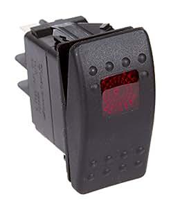 Daystar, Universal Rocker Switch with Red Light, 20 Amp, Single Pole, KU80014, Made in America