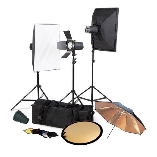 CowboyStudio Photo Studio Three Monolight Flash Lighting Kit with Carrying Case - 3 Studio Flash/Strobe, 2 Softboxes, 1 Barndoor by CowboyStudio