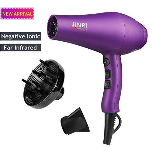 JINRI Negative Ion Hair Dryer with Diffuser | Professional 1875W Ceramic Tourmaline Anti-frizz | Extra-Fast Far Infrared Blow dryer with Quiet Salon-Grade Motor