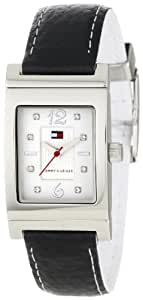 Tommy Hilfiger Women's 1780566 Crystal Reversible Black And White Leather Strap Watch