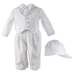 Haddad Brothers Baby-Boys Newborn Christening Baptism Special Occasion Shantung Long Pants with Cross Dobby Vest, White, 9-12 Months