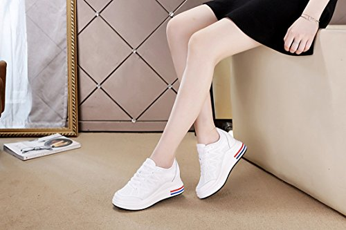 Traspiranti Esterno Tacco Tennis Scarpe DANDANJIE Scarpe da Antiscivolo Bianca da Donna Bianche Casual da Nascosto Scarpe da Trekking 0HzUp