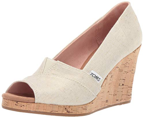 TOMS Women's Classic Wedge Sandal, Gold Shimmer Canvas, 12 Medium ()