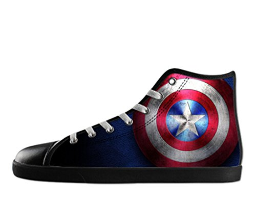 Captain America Shoes (Men's Fashion Canvas Captain America Theme Black High Top Shoes US 11)