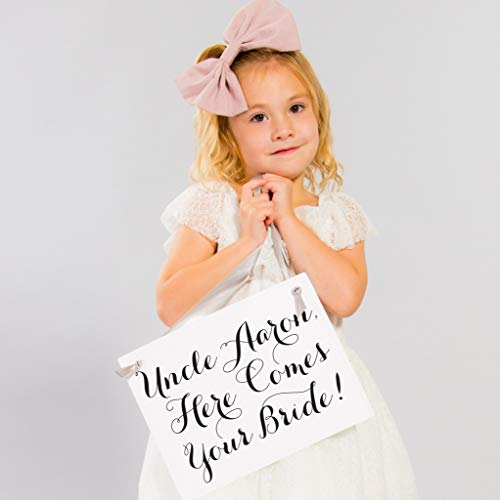(Uncle Here Comes Your Bride - Custom Wedding Sign Personalized Ring Bearer Wedding Banner | Flower Girl Sign for Modern Wedding Accessory)