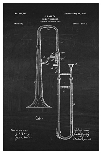 Instrument Family Posters (Trombone - White on Chalkboard - Instrument Patents - 16x24 Matte Poster Print Wall Art)