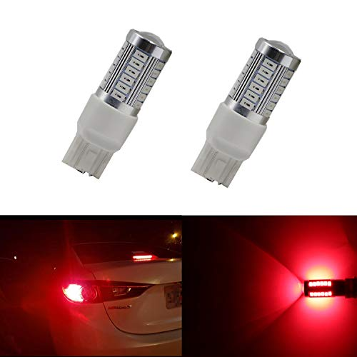 Dantoo T20 LED 7440 7441 7444 7443 Bulb Extremely Bright Brake Light Bulbs 33 SMD Brilliant Red Tail Lights Stop Lamp Replacement with Projector Lens, Pack of 2