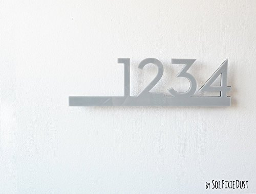 Modern House Numbers - Grey with Black Acrylic - Contemporary Home Address - Sign Plaque - Door ()