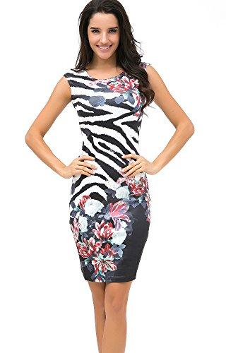 Eliacher Summer Dress Women Bodycon Dress Plus Size Women Clothing Print Dresses (Zebra)