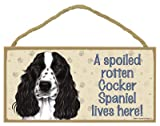 (SJT61928) A spoiled rotten Cocker Spaniel (English, black & white) lives here wood sign plaque 5