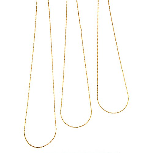 MiaBella Set of 3 18Kt Yellow Gold over Sterling Silver Diamond Cut Italian ()