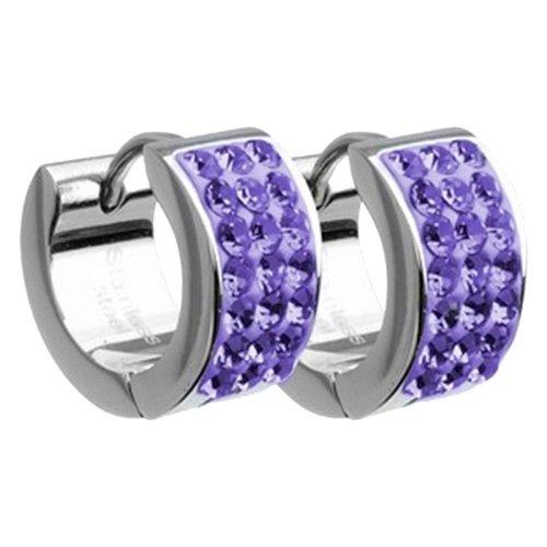 Amello bijoux en acier inoxydable - Amello boucles d'oreilles en acier inoxydable avec zircon violett - creoles en acier inoxydable pour femmes - ESOS01V
