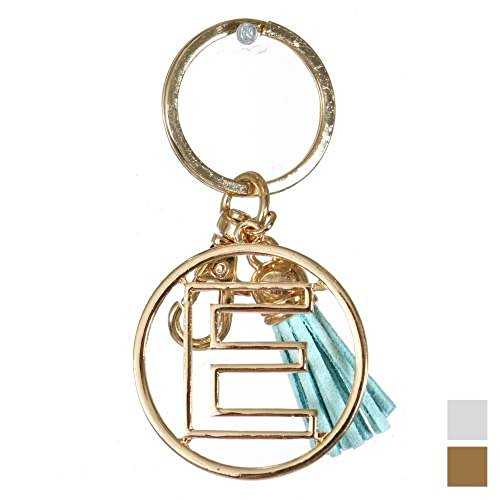 Knitting Factory Personalized Monogrammed Alphabet Initial Letter Keychain, Key Ring, Bag Charm w/ Tassel (E-Gold)