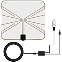TV Antenna SMALLRT Indoor Digital HDTV Antenna 50 Mile Range with Detachable Amplifier Signal Booster and 16ft Coaxial cable