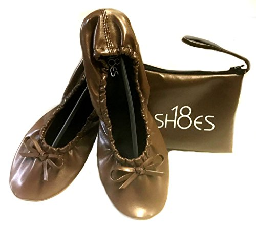 Matching Travel Shoes Portable Sh18 Flat Brown Foldable 18 Carrying w Shoes Ballet Women's Case wqqzpIB