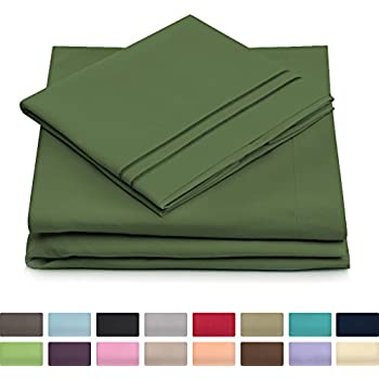 Queen Size Bed Sheets   Olive Green Luxury Sheet Set   Deep Pocket   Super  Soft Hotel Bedding   Cool U0026 Wrinkle Free   1 Fitted, 1 Flat, 2 Pillow Cases  ...