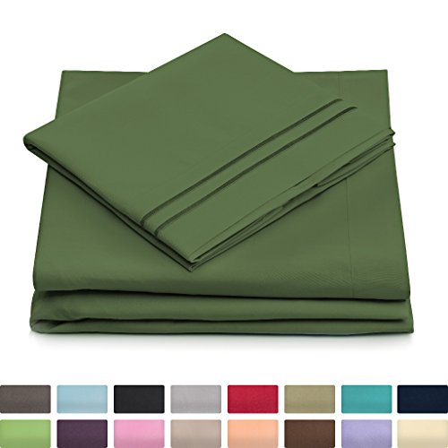 Queen Size Bed Sheets (Queen Size Bed Sheets - Olive Green Luxury Sheet Set - Deep Pocket - Super Soft Hotel Bedding - Cool & Wrinkle Free - 1 Fitted, 1 Flat, 2 Pillow Cases - Dark Green Queen Sheets - 4 Piece)