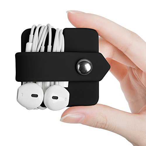 ELFRhino Silicone Earphone Organizer Earphone Wrap Winder Headphone Cord Organizer Wrap Winder Manager/Cable Winder(Black, 1 Piece)
