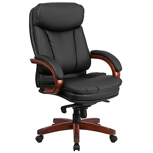 High Back Swivel Tilt Chair - Flash Furniture High Back Black Leather Executive Swivel Chair with Synchro-Tilt Mechanism, Mahogany Wood Base and Arms