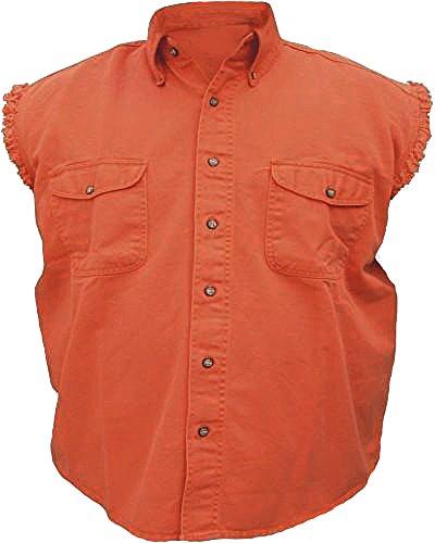 Mens Sleeveless Denim Cotton Twill Biker Shirt Orange XL