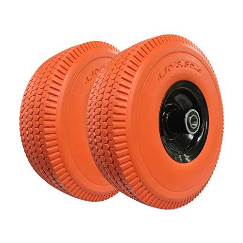 - Haicyon 10 Inch Flat Free Tire 4.10/3.50-4'' Hand Truck Tire on Wheel Durable Orange Tire(2 Packs)