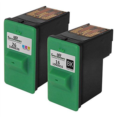 Speedy Inks ? Remanufactured set of Lexmark 10N0016 & 10N0026 ink cartridges 2 pack ? 1 black #16 , 1 color #26 (Cartridge Inkjet Remanufactured 10n0016 Black)