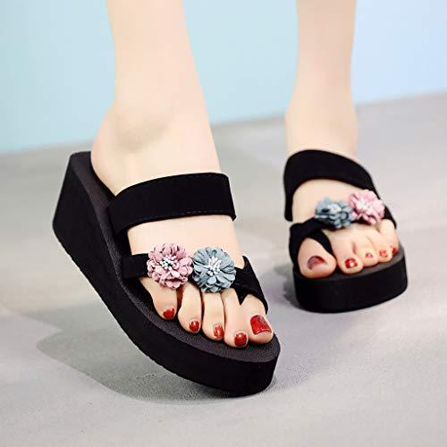 Chaussures Gris Cales Flip Femmes Bohème Talon Sandals Toe De Plage Pantoufles Ningsanjin D'été Clip Antidérapants Flops 1Zg7wqq