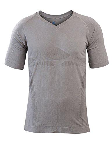 SleepShirt AVIOR │ Herren Schlaf-Shirt │ KURZARM Oberteil│ Seamless - ohne störende Nähte │ dreimal weicher als Baumwolle │ Thermoregulierende und atmungsaktive Funktions-Nachtwäsche (Mittelgrau, M)