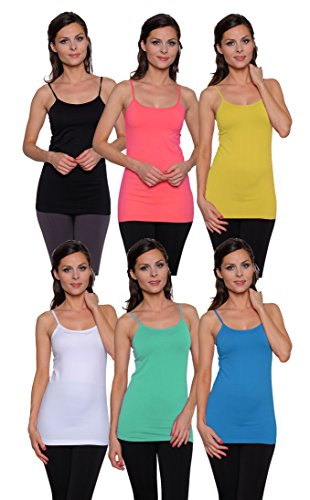 6 Pack Free to Live Women's Seamless Basic Layering Camis - Long Layering Camisole