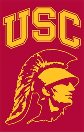 (Party Animal Sports Fan NCAA Team USC Trojans Applique Banner Flag Trojan Head design )