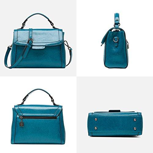 Paon Vintage dames à Sacs pour cuir bandoulière à Top Bleu Sac main en Handle BOYATU Femmes 6xvqqY