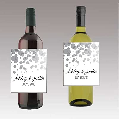 DesignThatSign 12 Black & White Bokeh Wine / Beer Bottle Labels Easy to Use Self Stick Labels: Toys & Games