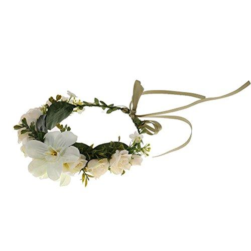 Wholesale EBTOYS Flower Crown Flower Wreath Floral Headband for Festival Wedding Party Favors (White) hot sale