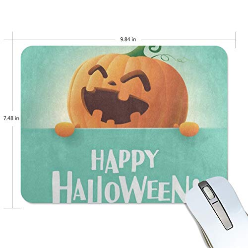 Funny Mouse Pad Personalized Happy Halloween Pumpkin Face Emoji Rectangle Shape for Office Computer Work (9.84 x 7.48 inch) -