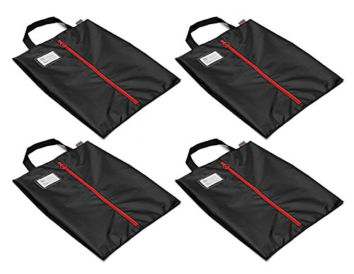 Tuff Guy Travel Shoe Bags 16''x12'', Made of Strong Water Proof Ballistic Nylon (Black) (4-Pack) Nylon Shoe Tote Bags with Heavy Duty Zipper. Men and Women. by Tuff Guy (Image #1)